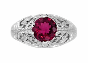 Rubellite Tourmaline Filigree Ring in 14 Karat White Gold - Click to enlarge