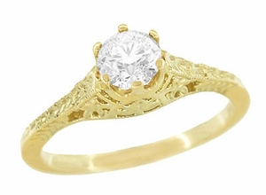 Art Deco 1/2 Carat Crown of Leaves Filigree Solitaire Diamond Engagement Ring in 18 Karat Yellow Gold