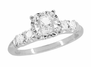 Mid Century Vintage Style Diamond Engagement Ring in 14 Karat White Gold - Item R728WD - Image 1
