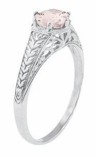 Art Deco Scrolls and Wheat Morganite Solitaire Filigree Engraved Engagement Ring in 18 Karat White Gold - Click to enlarge