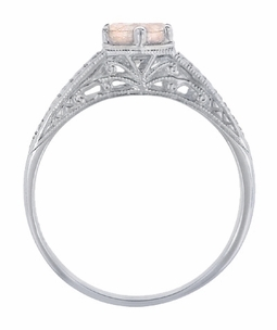 Art Deco Scrolls and Wheat Morganite Solitaire Filigree Engraved Engagement Ring in 18 Karat White Gold - Item R688WM - Image 2