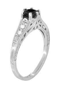 Art Deco Filigree Black Diamond Engagement Ring in 14 Karat White Gold - Item R158WBD - Image 1