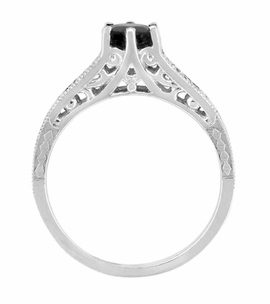 Art Deco Filigree Black Diamond Engagement Ring in 14 Karat White Gold - Item R158WBD - Image 2