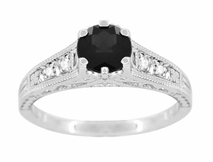 Art Deco Filigree Black Diamond Engagement Ring in 14 Karat White Gold - Item R158WBD - Image 3