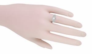 14 Karat White Gold Art Deco Diamond Filigree Engagement Ring - Item R404 - Image 4
