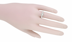 Art Deco Filigree Flowers and Scrolls Engraved Diamond Engagement Ring in 14 Karat White Gold, Vintage Style Low Profile Ring - Item R990W25 - Image 4