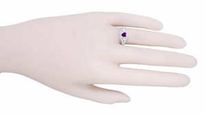 Art Deco Heart Shaped Amethyst and Diamond Filigree Ring in 14 Karat White Gold - Item R1119A - Image 5
