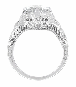 Art Deco White Topaz Engraved Filigree Engagement Ring in Sterling Silver - Click to enlarge