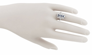 Art Deco Filigree Blue Sapphires Cocktail Ring in 14 Karat White Gold - Click to enlarge