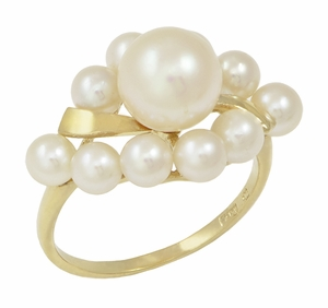 Vintage Mikimoto Pearl Cluster Ring in 14 Karat Yellow Gold - Click to enlarge