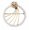 Vintage Retro Diamond and Pearls Circle Brooch in 14 Karat Gold