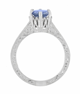 Art Deco Crown Filigree Scrolls Tanzanite Engraved Engagement Ring in Platinum - Item R199PTA - Image 5