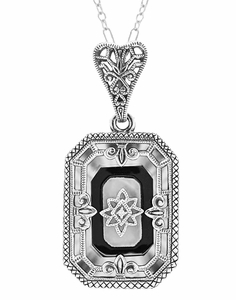 Art Deco Onyx and Crystal Diamond Set Filigree Rectangular Pendant Necklace in Sterling Silver