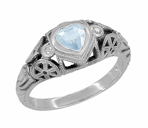 Art Deco Filigree Heart Shaped Sky Blue Topaz Promise Ring in Sterling Silver - Item SSR1119BT - Image 1