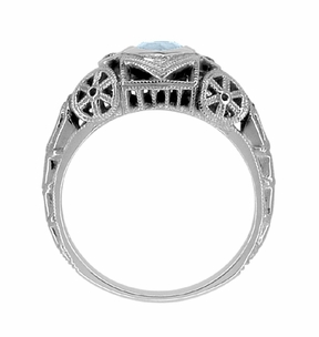 Art Deco Sky Blue Topaz Heart Filigree Ring in Sterling Silver - Item SSR1119BT - Image 3