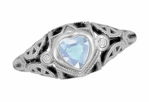Art Deco Sky Blue Topaz Heart Filigree Ring in Sterling Silver - Click to enlarge