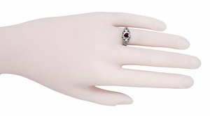 Art Deco Filigree Heart Almandine Garnet Filigree Ring in Sterling Silver - Item SSR1119G - Image 4