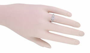 Art Deco Filigree Diamond Wheat Engraved Engagement Ring in 18 Karat White Gold - Item R296W50D - Image 5