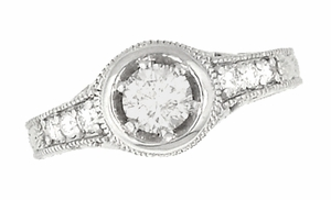 Art Deco Filigree Flowers and Scrolls Engraved 3/4 Carat Diamond Engagement Ring Setting in 18 Karat White Gold - Click to enlarge