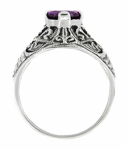 Edwardian Filigree Amethyst Ring in Sterling Silver - Item SSR1 - Image 1