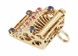 Vintage Gem Set Movable Typewriter Charm in 14 Karat Gold - Click to enlarge