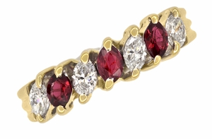 Marquise Ruby and Diamonds Estate Anniversary Band in 18 Karat Yellow Gold - Item R1107 - Image 2