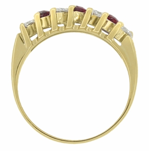 Marquise Ruby and Diamonds Estate Anniversary Band in 18 Karat Yellow Gold - Item R1107 - Image 4