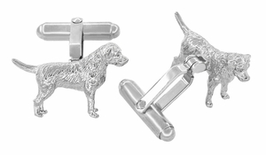 Labrador Cufflinks in Sterling Silver - Silver Labrador Retriever Cuff Links - Item SCL230W - Image 1