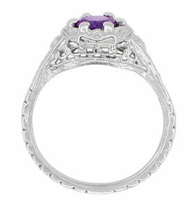 Art Deco Filigree Flowers Sterling Silver Amethyst Ring  - Item SSR706AM - Image 2
