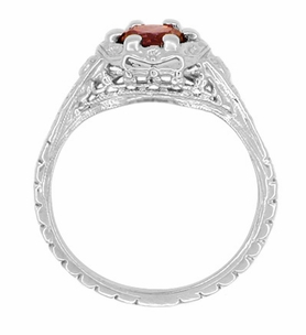 Art Deco Filigree Flowers Almandine Garnet Ring in Sterling Silver - Item SSR706G - Image 2