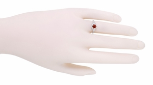 Art Deco Filigree Flowers Almandine Garnet Ring in Sterling Silver - Item SSR706G - Image 3