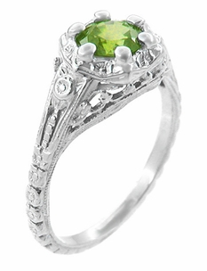 Art Deco Filigree Flowers Sterling Silver Peridot Ring - Click to enlarge