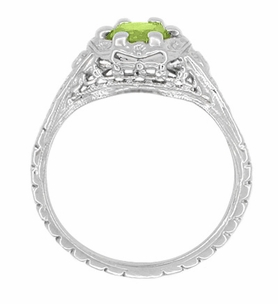 Art Deco Filigree Flowers Sterling Silver Peridot Ring - Item SSR706P - Image 2