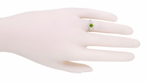 Art Deco Filigree Flowers Sterling Silver Peridot Ring - Item SSR706P - Image 3