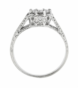 Royal Crown 1/2 Carat Antique Style Engraved Engagement Ring in Platinum - Item R460PD - Image 3