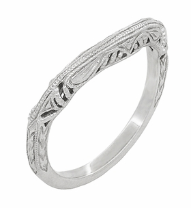 Art Deco Filigree and Wheat Engraved Curved Wedding Ring in Platinum - Item WR161P - Image 1