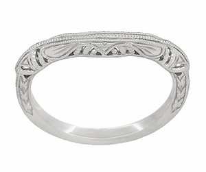 Art Deco Filigree and Wheat Engraved Curved Wedding Ring in Platinum - Click to enlarge