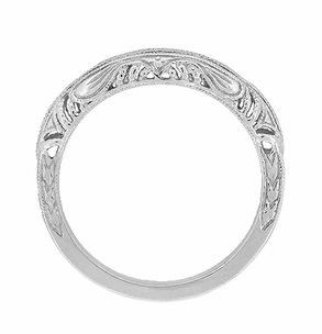 Art Deco Filigree and Wheat Engraved Curved Wedding Ring in Platinum - Item WR161P - Image 3