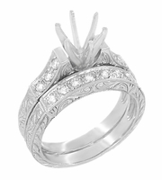 Art Deco Engraved Scrolls 1 Carat Diamond Engagement Ring Setting and Wedding Ring in 18 Karat White Gold