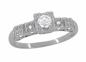 Art Deco Platinum Diamond Engagement Ring, Vintage 1930's Heirloom Reproduction - Item R386PD - Image 2