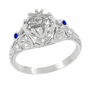 Edwardian Engagement Ring Setting with Side Blue Sapphires and Diamonds in 18 Karat White Gold - Item R679WS - Image 2