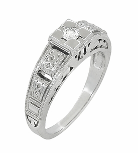 Art Deco Engraved White Sapphire Ring in Sterling Silver - Click to enlarge
