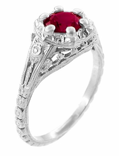 Art Deco Filigree Flowers Ruby Engagement Ring in Sterling Silver - Click to enlarge