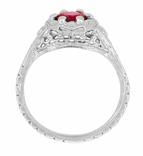 Art Deco Filigree Flowers Ruby Engagement Ring in Sterling Silver - Item SSR706CR - Image 2