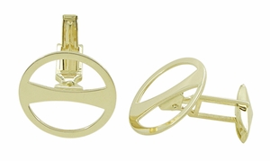 Geometric Retro Vintage Cufflinks in 18 Karat Gold - Click to enlarge