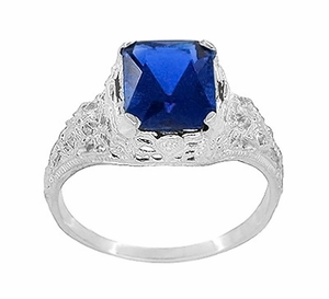 Edwardian Filigree Radiant Cut Lab Created Blue Sapphire Ring in Sterling Silver - Item SSR618S - Image 2