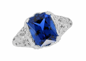 Edwardian Filigree Radiant Cut Lab Created Blue Sapphire Ring in Sterling Silver - Click to enlarge
