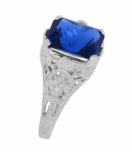 Edwardian Filigree Radiant Cut Lab Created Blue Sapphire Ring in Sterling Silver - Item SSR618S - Image 4