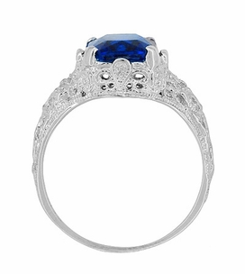 Edwardian Filigree Radiant Cut Lab Created Blue Sapphire Ring in Sterling Silver - Item SSR618S - Image 5