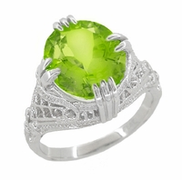 Art Deco Filigree 5.5 Carat Peridot Statement Ring in 14 Karat White Gold